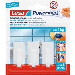 Zelfklevende haken Tesa Powerstrips 1kg 4 strips en 3 haken wit