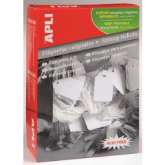 Draadetiketten Apli 13x34mm wit (1000)
