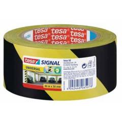 Signalisatietape Tesa 50mm x 60m geel/zwart