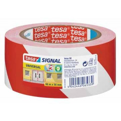 Signalisatietape Tesa 50mm x 60m rood/wit