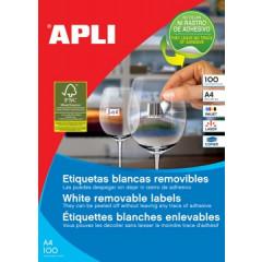 Etiketten Apli afneembaar 1 etik/bl 210x297mm (100)