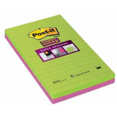 Memoblok Post-it Super Sticky XXL 125x200mm gelijnd neongroen/fuchsia (2)