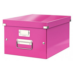Opbergdoos Leitz Click&Store WOW PP A4 roze metallic (6044023)