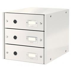 Ladenblok Leitz Click&Store WOW PP A4 3 laden wit metallic