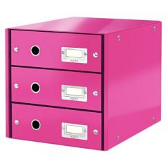 Ladenblok Leitz Click&Store WOW PP A4 3 laden roze metallic