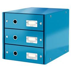 Ladenblok Leitz Click&Store WOW PP A4 3 laden blauw metallic