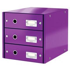 Ladenblok Leitz Click&Store WOW PP A4 3 laden paars metallic