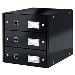 Ladenblok Leitz Click&Store WOW PP A4 3 laden zwart metallic