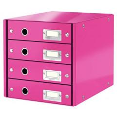 Ladenblok Leitz Click&Store WOW PP A4 4 laden roze metallic