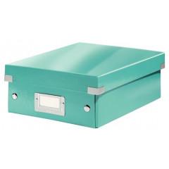 Opbergdoos Leitz Click&Store WOW PP A5 met sorteervakken ijsblauw metallic