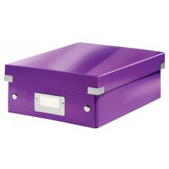 Opbergdoos Leitz Click&Store WOW PP A5 met sorteervakken paars metallic