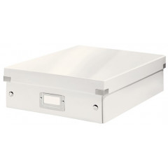 Opbergdoos Leitz Click&Store WOW PP A4 met sorteervakken wit metallic (605800L)