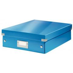 Opbergdoos Leitz Click&Store WOW PP A4 met sorteervakken blauw metallic (6058036)