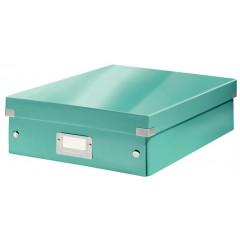 Opbergdoos Leitz Click&Store WOW PP A4 met sorteervakken ijsblauw metallic (6058051)