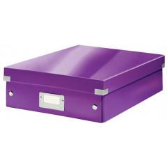 Opbergdoos Leitz Click&Store WOW PP A4 met sorteervakken paars metallic (6058062)