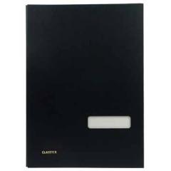 Handtekenmap Classex linnen grijze vloei 20-vaks zwart