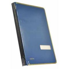 Handtekenmap Classex linnen + metalen boord 20-vaks blauw