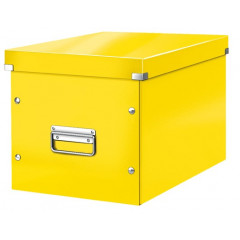 Opbergdoos Leitz Click&Store WOW Cube PP groot geel metallic (6108016)