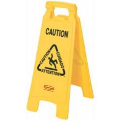 Waarschuwingsbord Rubbermaid gladde vloer recto verso geel