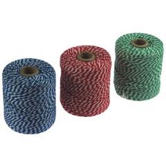 Katoentouw 100gr - 100m groen/wit, blauw/wit, rood/wit (5)