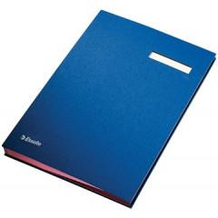 Handtekenmap Esselte grijze vloei 20-vaks blauw