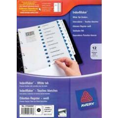 Indexmaker Avery A4 karton 185gr printbare etiketten 11-gaats 12 tabs