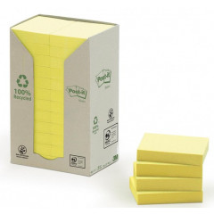 Memoblok Post-It Recycled 38x51mm 100vel geel (24)