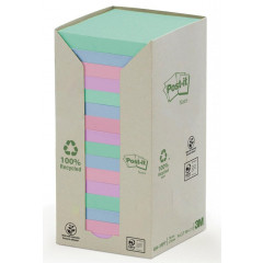 Memoblok Post-It Recycled 76x76mm 100vel assorti (16)