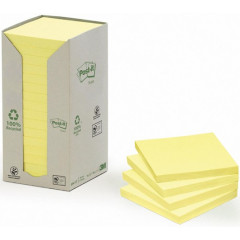 Memoblok Post-it 76x76mm gerecycleerd geel (16)