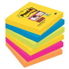 Memoblok Post-it Super Sticky Rio 76x76mm assorti (6)