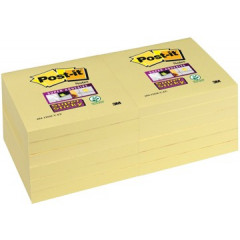 Memoblok Post-it Super Sticky 76x76mm geel (12)
