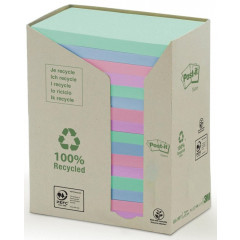 Memoblok Post-It Recycled 76x127mm 100vel assorti (16)