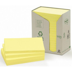 Memoblok Post-It Recycled 76x127mm 100vel geel (16)