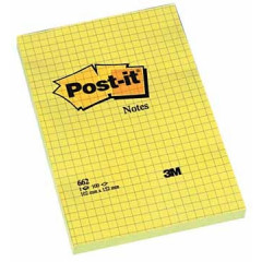 Memoblok Post-it 102x152mm geruit geel
