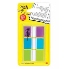 Index Post-it Standaard 25,4x43,2mm assorti blister (3)