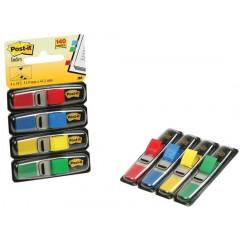 Index Post-it Smal 12x43mm rood, blauw, geel, groen voordeelpack 4+2 gratis
