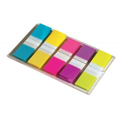 Index Post-it Smal 12x43mm turkoois, lichtgroen, oranje, roze, paars