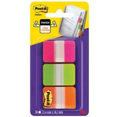 Index Post-it Strong 25,4x38mm transparant roze, lichtgroen en oranje blister (3)