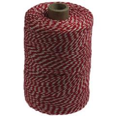 Katoentouw 200gr - 200m rood/wit