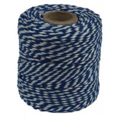 Katoentouw 50gr - 45m blauw/wit