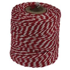 Katoentouw 50gr - 45m rood/wit