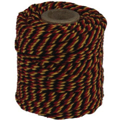 Katoentouw 50gr - 35m zwart/rood/geel