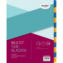 Tabbladen Multo karton A4 170g jan-dec assorti geel/blauw
