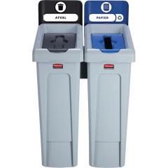 Vuilniskit Rubbermaid Slim Jim 2 vuilnisbakken inclusief 10 etiketten zwart/blauw