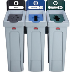 Vuilniskit Rubbermaid Slim Jim 3 vuilnisbakken inclusief 10 etiketten zwart/blauw/groen