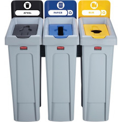 Vuilniskit Rubbermaid Slim Jim 3 vuilnisbakken inclusief 10 etiketten zwart/blauw/geel