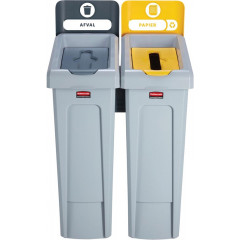 Vuilniskit Rubbermaid Slim Jim 2 vuilnisbakken inclusief 10 etiketten zwart/geel