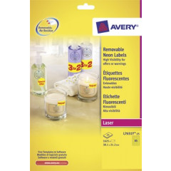 Etiket Avery Removable 65 etik/bl 38,1x21,2mm fluo geel (25)