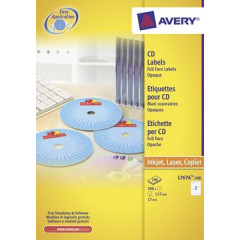 Etiket Avery CD 02 etik/bl Ø117mm wit (100)