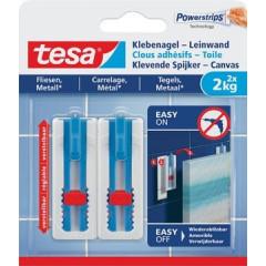 Kleefspijker Tesa Canvas draagkracht 2kg voor tegels en metaal wit 2 spijkers en 3 strips